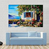 WERSD 3 Piezas Cuadros Lienzo Casa Cerca del Mar Resumen Moderno Impresiones En HD Fotos Decoración para El Hogar 3 Piezas Artística Cuadros