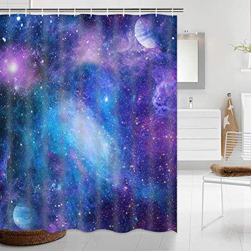 """Purple Galaxy Shower Curtain, Starry Space Shower Curtain with 12 Hooks, Waterproof Nebula Universe Bathroom Curtain, Magical Fantasy Outer Space Show Curtain for Bathroom, 69"""" W x 70"""" L"""