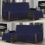 Banzaii Funda de Sofá Cubre Chaise Longue Acolchada Lisa 3 Plazas (240 cm) con Chaise Longue Izquierda/Derecha Azul Oscuro