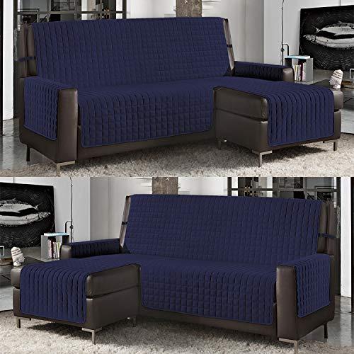 Banzaii Funda de Sofá Cubre Chaise Longue Acolchada Lisa 4 Plazas (290 cm) con Chaise Longue Izquierda/Derecha Azul Oscuro