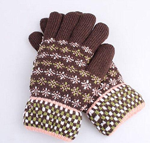 Gloves-zx Versione Coreana Autunno Inverno e Guanti Femminile Bella Tenere al Caldo più Velluto Ispessimento Maglieria Studente in Bicicletta Punti Dito Guanti Invernali (Colore : 8#)