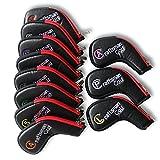 Artesano Golf 11pcs/set (diestros, a, S, P, L, x) (piel sintética), color negro con borde rojo para cabeza de hierro de golf, color para Titleist Callaway Ping con cremallera