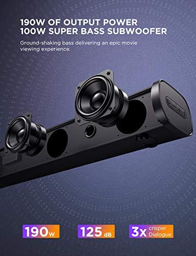 Bomaker Barre de Son, 2.1 Canaux avec Subwoofer 190 W Haut-Parleur, BOMAKER Barre de Son TV HDMI, Wireless Bluetooth 5.0 Soundbar, Home Cinéma pour TV, PC, PS4, Portable, Tablette -Tapio III (Noir1)