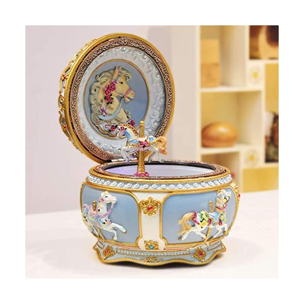 Amperer Classical Carousel Horse Music Box LED Lights Twinkling Resin Carved Collectible Mechanical Musical Box with… 5