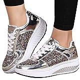 Alaso Chaussures de Sport À Lacets Talons Compensés Femmes, en Soldes Dames Plateforme Chunky Baskets Paillettes Mode Wedges Sneakers