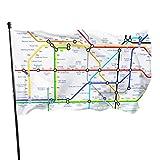 asdew987 Walking Tube Londres - Banderas decorativas duraderas resistentes a la decoloración con ojales de poliéster para todas las estaciones y días festivos, 3 x 5 pies