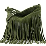 modamoda de - T145 - bolso de hombro ital con flecos, Color:T145 verde militar