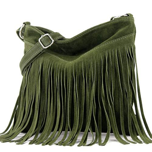 modamoda de - T145 - ital Schultertasche Fransen Wildleder, Farbe:T145 Armeegrün