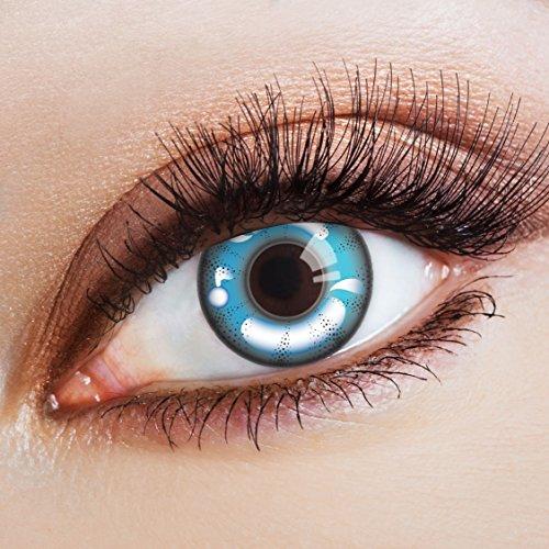 aricona Kontaktlinsen - Blaue Kontaktlinsen Manga Farblinsen ohne Stärke - Farbige Kontaktlinsen im Comic-Style für Karneval, Fasching, Cosplay, 2 Stück