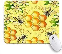 GUVICINIR マウスパッド 個性的 おしゃれ 柔軟 かわいい ゴム製裏面 ゲーミングマウスパッド PC ノートパソコン オフィス用 デスクマット 滑り止め 耐久性が良い おもしろいパターン (農場の動物の花蜂とハニカム)