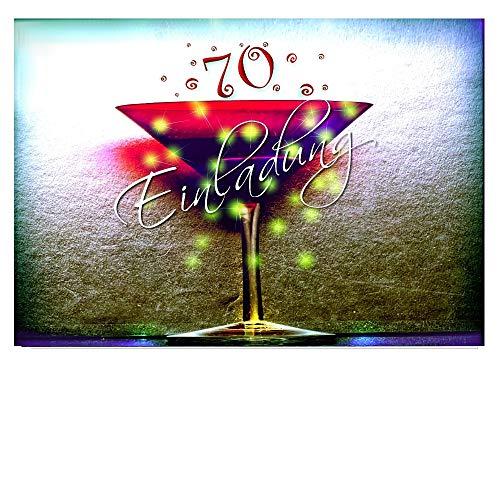 DigitalOase Einladungskarten 70. Geburtstag MIT INNENTEXT 70. Jubiläum Geburtstagskarten MENGE WÄHLBAR Klappkarten Kuverts Format DIN A6#KELCHR (7)