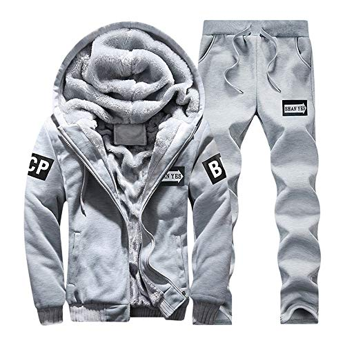 Kanpola Herren Kapuzenpullover + Hosen Winterjacke Kapuzenjacke Set Jacke Outwear Mantel