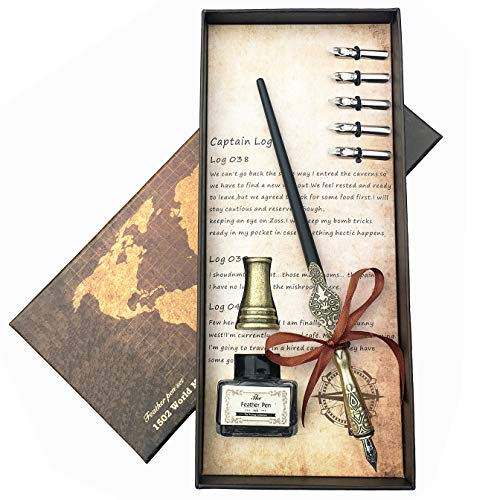 Lingery Calligraphy Dip Pen Set, 100% Hand Craft Copper Pen with Pen Holder and 11 Nibs