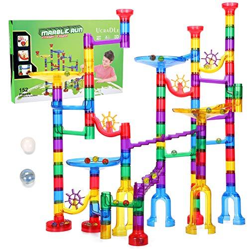Ucradle Kugelbahn - 152pcs Mehrfarbige Murmelbahn Marble Run Set mit Bahnelementen und Glasmurmeln, Kugelbahn Lernspielzeug, Bausteinspielzeug, Konstruktionspielzeug für Kinder