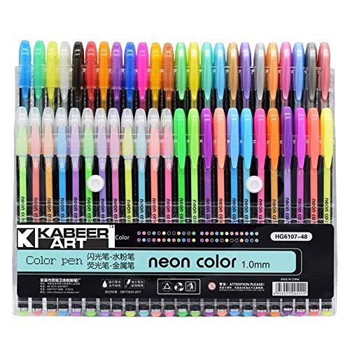 KABEER ART® 48 Pc Gel Pens set Color gel pens,Glitter, Metallic, Neon pens Set Good gift For Coloring Kids Sketching Painting Drawing