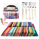 QMAY Modelado de Arcilla, Arcilla de polímero Kit de Herramientas de Modelado, Arte Creativo DIY Crafts, Regalo para niños (46 Bloques(28g))