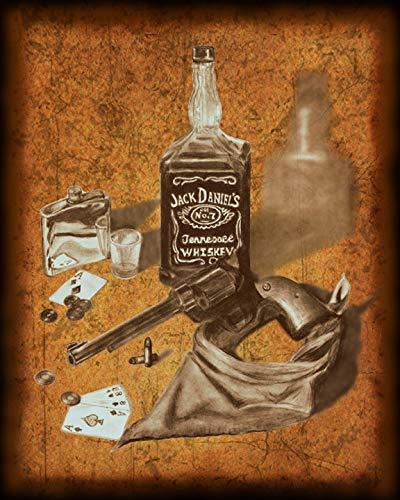 Jack Daniels and .357 Magnum - Original Artwork Print of Hand Drawn Charcoal Drawing. 8 X 10 Home Decor Wall Art.
