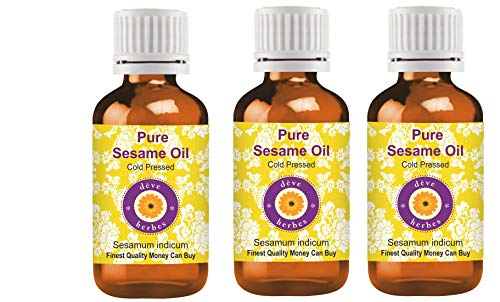 Deve Herbes Aceite de sésamo puro (Sesamum indicum) 100% natural de grado terapéutico prensado en frío para cuidado personal (paquete de tres) 100 ml x 3 (10 onzas)