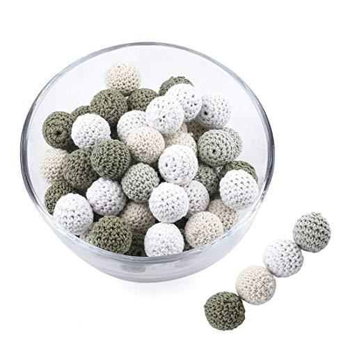 Promise Babe 16mm 40pc Handgemachte Beißring Perlen Armee Grün Serie Kinderkrankheiten Verlieren Perlen für DIY Schmuck Zubehör aus Holz Häkeln Perle