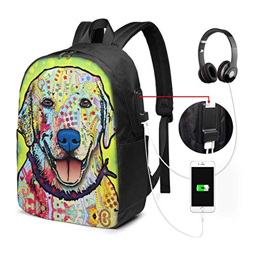 Pop Art Dog Laptop Backpack, Business Travel Work Laptop Bag with USB Charging Port, Waterproof Backpack for Girls Men Women, Anti-Theft College School Gift Backpack