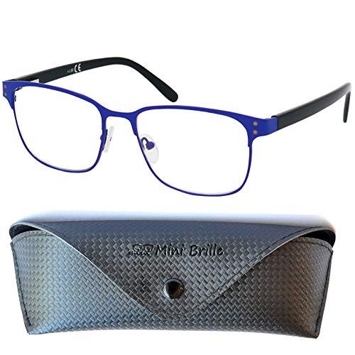 Vintage Gafas con Filtro de Luz Azul Unisex para Leer con Lentes Grandes, Funda GRATIS, Montura de Acero Inoxidable (Azul) con Patillas de Plástico, Para Hombre y Mujer +2.0 Dioptrías