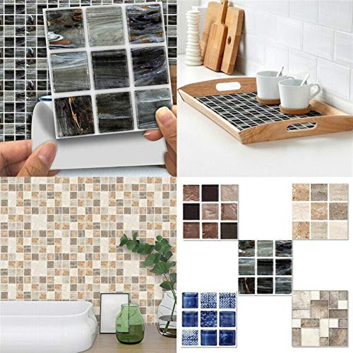ACEACE 18 PCS Mosaico 3D Mirada de Azulejos de Pared en la Pared de la Cocina Baño Autoadhesivo DIY Pegatinas de PVC de la habitación Decoración de la Pared Decoración de la Pared