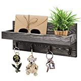 KIWOEN Key Holder for WallKey Hanger Vintage RusticWoodenDecorative Shelf Mail Organizer with 4 Key Hooks Wall Mounted Entryway Key Organizer for Living Room,Kitchen,Bathroom and Office (Gray)