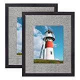 DLQuarts 12x15 Picture Frames with Linen Mat,Solid Wood & HD Glass Photo Frames Set of 2 for Wall Hanging, Display Pictures 8x10 with Mat & 12x15 Without Mat,Weathered Black