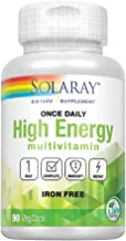 Solaray Once Daily High Energy Multivitamin, No Iron | Complete Multi w/ Whole Food and Herb Base | Non-GMO | 90 VegCaps