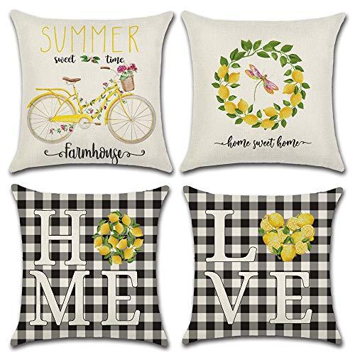 Ydq Set of 4 Cotton Linen Throw Pillow Covers Grey Black Buffalo Plaids Farmhouse Home Decorative Cushion Cover for Office Sofa Bed Pillowcase 18''X18''/16'X16',A,40 * 40CM
