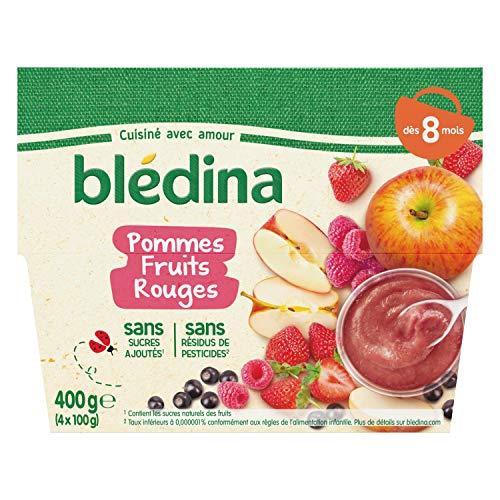 Blédina 4 Coupelles Pommes Fruits Rouges Dès 8 mois, 4 x 100g