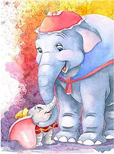 ZHIYYQ Paint by Numbers, DIY Digital Oil Painting kit, Color Canvas Painting for Adults Children, Home Decoration, Gifts-Cartoon elephant-frameless-40X50cm