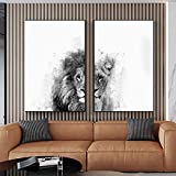 León blanco y negro Pintura en lienzo Carteles e impresiones Animal salvaje Arte de la pared Sala de estar Pasillo del hogar Decoración Mural 20x30cm (7.87x11.81in) x2 Sin marco