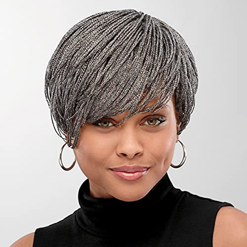 Shuri Hand-Braided Wig by Especially Yours – Sassy Short Wig with Intricate Micro Box Braids, Trendy Cut / Runway Shades of Black, Brown, Dark Wine and Gray