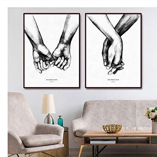wekeke Cuadros Manos Amor Lienzo Pintura Minimalista Blanco Negro Carteles e Impresiones Cuadros Abstractos para Pareja Dormitorio Decoración/50X70Cmx2 Piezas Sin Marco