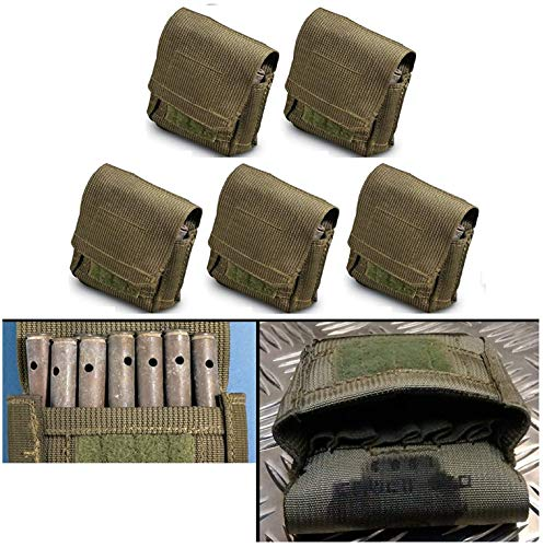 Ultimate Arms Gear 5 Pack of Unissued Surplus Zahal IDF Military 12 Elastic Shell Ammo Bullet M16/M4/AR15 5.56/.223 Pouch Carrier Holder Case with Belt Pants HOOK & ALICE Clip