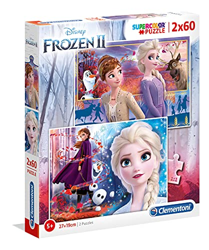 Clementoni- 2 Puzzles 60 Piezas Frozen 2 (21609.3)