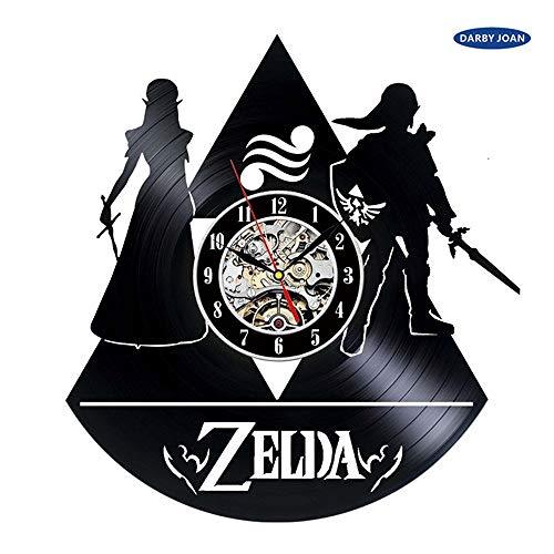 Zhuhuimin Art Nouveau CD plaat wandklok legende handgemaakte klok zwart klok decoratie thuis geluidsplaat 12x12inch Zonder led-licht.