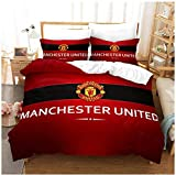 Manchester United Football Club Duvet Cover with Pillowcases, 3D Printed MUFC Bedding Set for Kids Adults, Man Utd Quilt Covers,Red,EU 135×200 cm