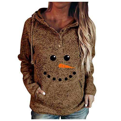 IHGWE 【Snow Man Damenmode Damen Knöpfe Kragen Weihnachten Kapuze Sweatshirt...