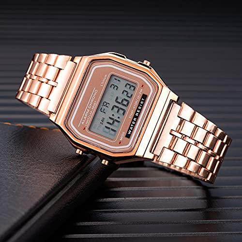 Mujeres Relojes De Mujer Moda De Lujo DIRIGIÓ Reloj Digital Para Mujeres STELL STELL PLAQUETE COMPLETO TOQUE DEPORTES Reloj De Pulsera Ladies Reloj Reloj Mujer Reloj digital ( tamaño : Rose Gold 2 )