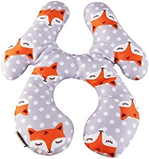 KAKIBLIN Baby Travel Pillow, Infant Head and Neck Support Pillow Car Seat Pushchair Headrest for 6-24 Months (Gray Fox)
