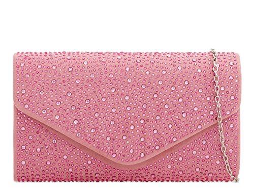 LeahWard Women's Clutch Bag For Wedding Faux Suede Leather Evening Handbags 2152 (Blush Clutch)