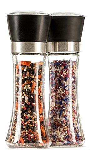 MyGreenWarehouse Gewürzmühlen 2er Set - Hochwertige Salz- und Pfeffermühle mit stufenlos verstellbarem Keramikmahlwerk