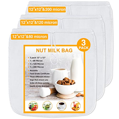 Geniusidea Nut Milk Bag 3 pack 80&120&200 Micron Reusable Mesh Strainer Bag for Nut Milk Juices Cold Brew Coffee Yogurt All Purpose Food Strainer 12''×12'' Food Grade Nut Bags With Strong Fine Nylon
