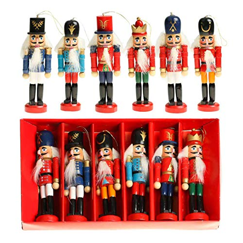 Vlovelife Christmas Nutcrackers, 6pcs Wooden Nutcracker Soldier Figurines Christmas Tree Ornaments Puppets Figures Dolls Toy, Christmas Decorations Home Party Decor
