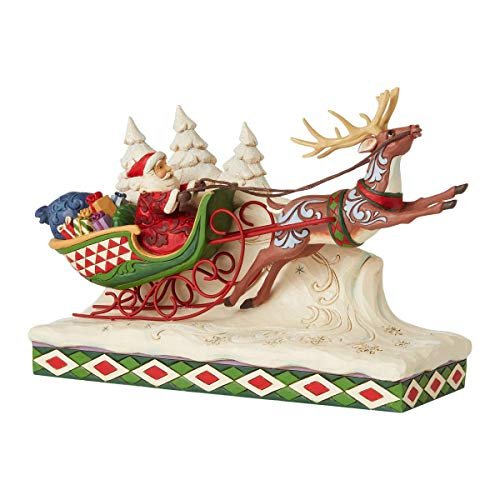 Enesco Jim Shore Heartwood Creek Santa on Sleigh with Reindeer Figurine, 7-Inch Height