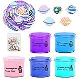 SWZY Slime Fluffy, Butter Slime Set, Planet Slime, Juguetes de descompresión para niños y Adultos, 5 Piezas (Rosa / Morado / Azul Claro / Azul Oscuro / Azul Cielo)