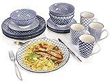 Sänger Tafelservice Ozaki 16 teiliges Geschirr-Service für 4 Personen aus Porzellan, Speise-, Dessertteller, Schalen und Becher, Gemustert, Alltag, besonderes Dinner, Frühstück, Outdoor Teller-Set