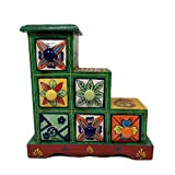 India Meets India Handicraft Crafted Wooden & Ceramic Small Chest of 6 Decorated Drawers Jewellery Organizer Desk Organizer Showpiece Table Décor Pure Hand Decorated Embossed Painting